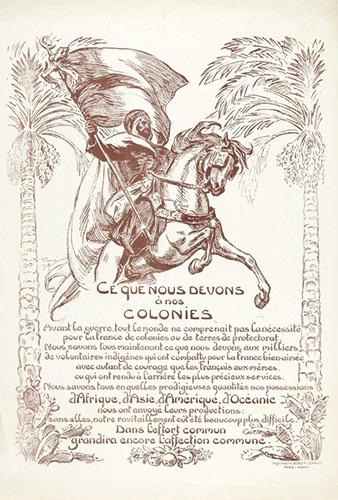 Ce que nous devons à nos colonies, affiche signée Prouvé, imprimerie Berger-Levrault, 1918.
